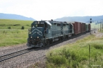 MRL 404 (GP35) leads the road switcher towards Bozeman Tunnel